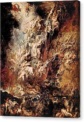 Canvas Print featuring the painting The Fall Of The Damned by Peter Paul Rubens