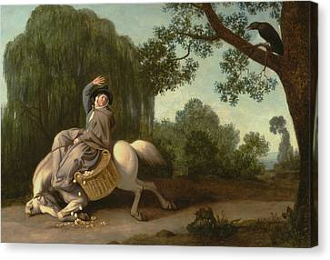 The Farmer's Wife And The Raven Canvas Print by George Stubbs