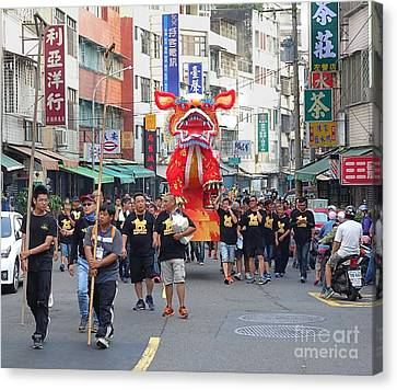 Canvas Print featuring the photograph The Fire Lion Procession In Southern Taiwan by Yali Shi