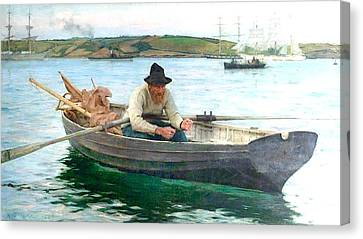 Canvas Print featuring the painting The Fisherman by Henry Scott Tuke