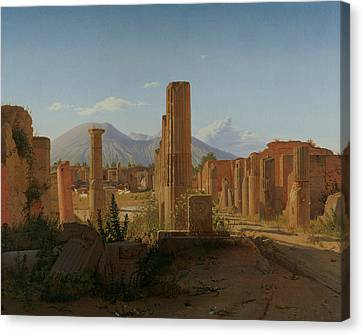 The Forum At Pompeii With Vesuvius In The Background Canvas Print
