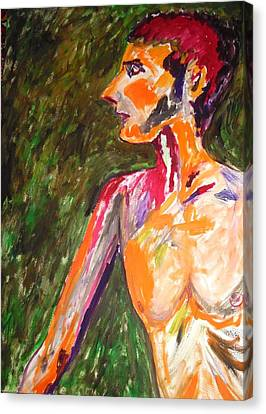 Canvas Print featuring the painting Benjamin Beseiged by Esther Newman-Cohen