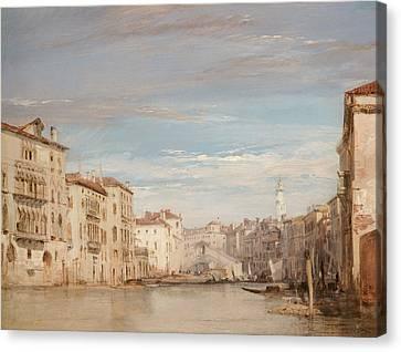 The Grand Canal, Venice, Looking Toward The Rialto Canvas Print by Richard Parkes Bonington