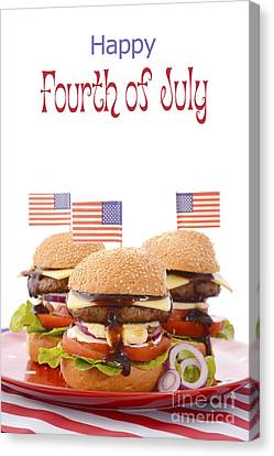 American Independance Canvas Print - The Great Bbq Hamburger With Flags by Milleflore Images