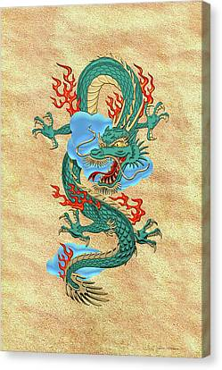 The Great Dragon Spirits - Turquoise Dragon On Rice Paper Canvas Print by Serge Averbukh