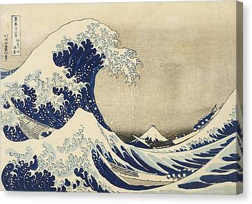 Cushion Canvas Print - The Great Wave by Katsushika Hokusai