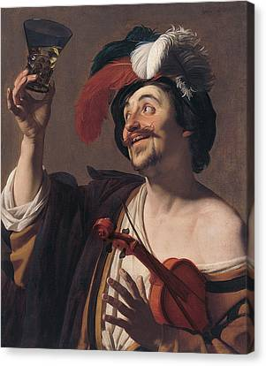 The Happy Violinist Canvas Print by Gerard van Honthorst