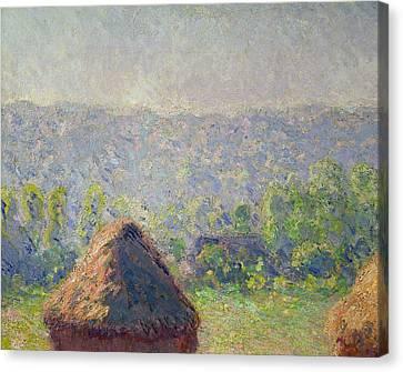 The Haystacks Canvas Print by Claude Monet