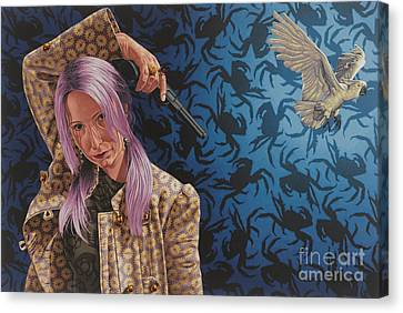Pink Hair Canvas Print - The Hijacker by Stephen Hall