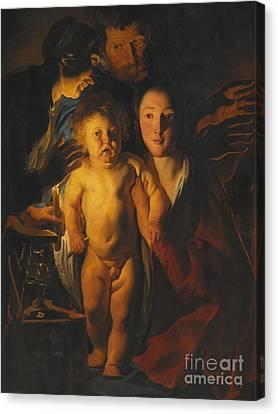 Nativity Canvas Print - The Holy Family by Jacob Jordaens