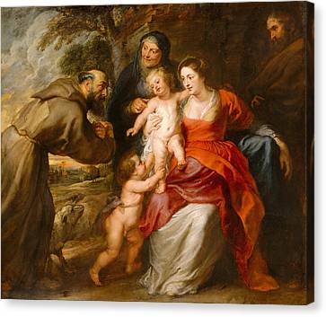 Canvas Print featuring the painting The Holy Family With Saints Francis And Anne And The Infant Saint John The Baptist by Peter Paul Rubens