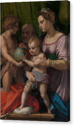 Jesus With A Child Canvas Print - The Holy Family With The Young Saint John The Baptist  by Andrea del Sarto