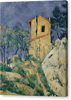 The House With The Cracked Walls Canvas Print by Paul Cezanne