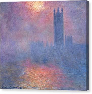 The Houses Of Parliament, Sun Shining Through The Fog Canvas Print by Claude Monet