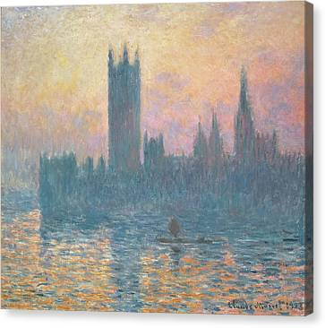 The Houses Of Parliament  Sunset Canvas Print by Claude Monet