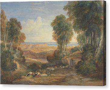 The Junction Of The Severn And The Wye With Chepstow In The Distance Canvas Print
