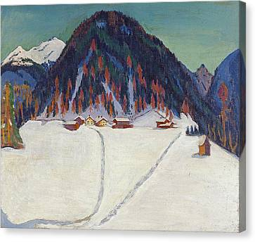 The Junkerboden Under Snow Canvas Print by Ernst Ludwig Kirchner