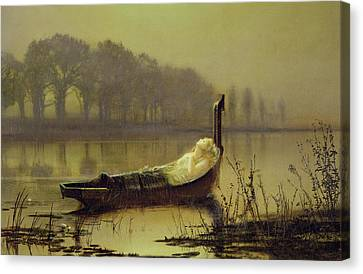 The Lady Of Shalott Canvas Print by John Atkinson Grimshaw