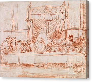 Jesus Christ Canvas Print - The Last Supper, After Leonardo Da Vinci by Rembrandt
