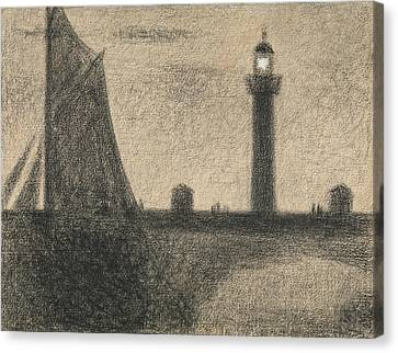 Seurat Canvas Print - The Lighthouse At Honfleur by Georges-Pierre Seurat