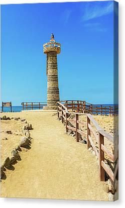 The Lighthouse In Salinas, Ecuador Canvas Print by Marek Poplawski