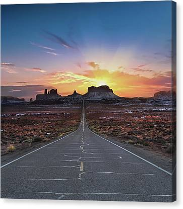 Monument Valley Canvas Print - The Long Road To Monument Valley by Larry Marshall