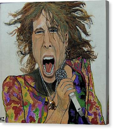 Canvas Print featuring the painting The Madman Of Rock.steven Tyler. by Ken Zabel
