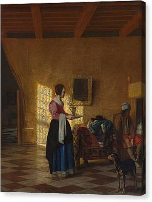 The Maidservant Canvas Print by Pieter de Hooch