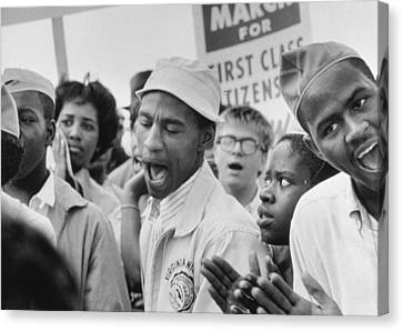 The March On Washington  A Group From Detroit Canvas Print by Nat Herz