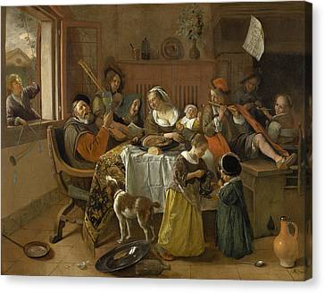 The Merry Family Canvas Print by Jan Steen