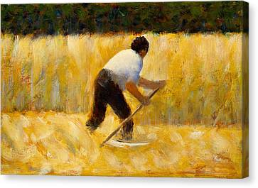 Seurat Canvas Print - The Mower by Georges-Pierre Seurat
