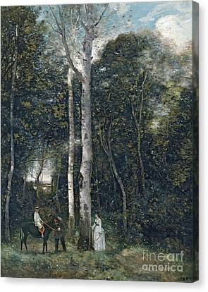 The Parc Des Lions At Port-marly Canvas Print by Jean Baptiste Camille Corot