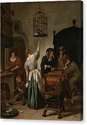 The Parrot Cage Canvas Print by Jan Steen