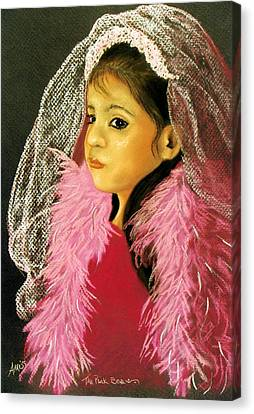 Canvas Print featuring the pastel The Pink Boa by Jan Amiss
