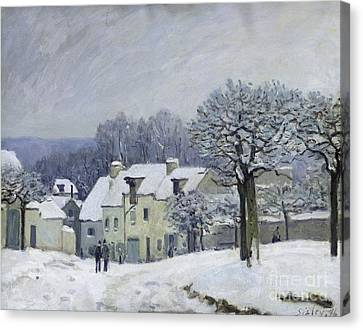 Snowfall Canvas Print - The Place Du Chenil At Marly Le Roi by Alfred Sisley