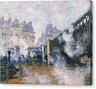 The Pont De L'europe, Gare Saint-lazare Canvas Print by Claude Monet