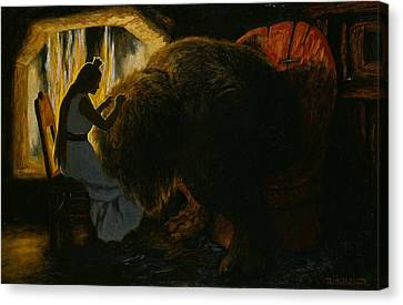 The Princess Picking Lice From The Troll Canvas Print by Theodor Kittelsen