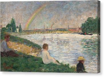 Seurat Canvas Print - The Rainbow   Study For Bathers At Asnieres by PixBreak Art