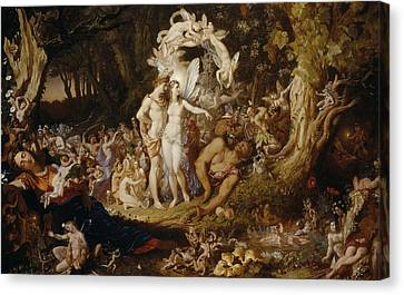 Warrior Goddess Canvas Print - The Reconciliation Of Oberon And Titania by Sir Joseph Noel Paton