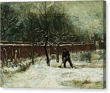 The Rectory Garden In Nuenen In The Snow Canvas Print by Vincent van Gogh