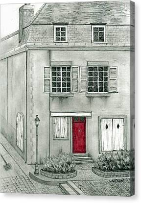 The Red French Door Canvas Print by Mary Tuomi