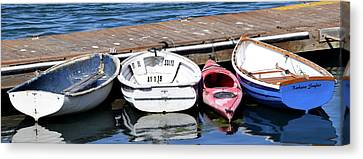 The Red Kayak Morro Bay California Canvas Print by Barbara Snyder