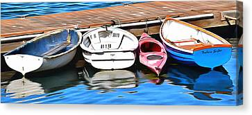 The Red Kayak Morro Bay California Painting Canvas Print by Barbara Snyder