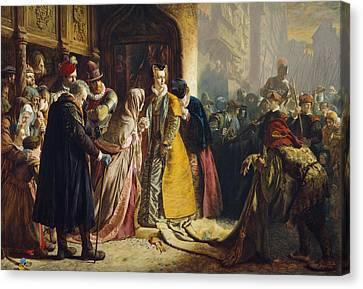 The Return Of Mary Queen Of Scots To Edinburgh Canvas Print by James Drummond