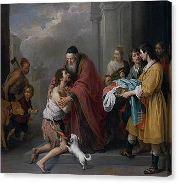 The Return Of The Prodigal Son Canvas Print by Bartolome Esteban Murillo