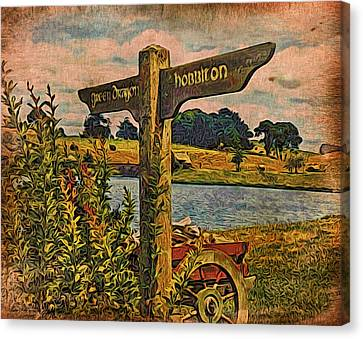 Canvas Print featuring the digital art The Road To Hobbiton by Kathy Kelly