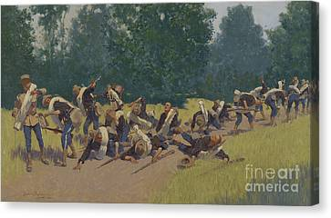 The Scream Of Shrapnel At San Juan Hill Canvas Print by Frederic Remington