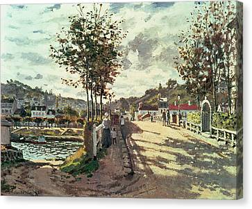 Tree Lines Canvas Print - The Seine At Bougival by Claude Monet