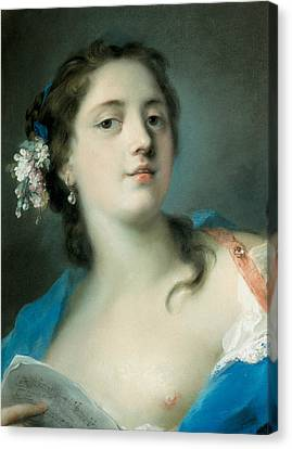The Singer Faustina Bordoni With A Musical Score Canvas Print by Rosalba Carriera