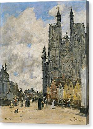 The Square Of The Church Of Saint Vulfran In Abbeville Canvas Print